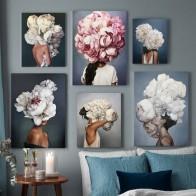 Скандинавские Современные Цветочные Перья женщины абстрактный модный стиль холст картина искусство печать плакат картина стены гостиной ...