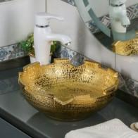 Купить Умывальник фигурный MELANA MLN-J2051G (золото) в Ульяновске - Раковины на столешницу