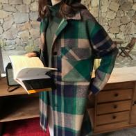 Повседневное клетчатое женское длинное зимнее шерстяное пальто с широкой талией шерстяное пальто и куртка однобортная верхняя одежда-in Шерсть и сочетания from Женская одежда on AliExpress