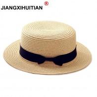 207.66 руб. 10% СКИДКА|2019 простая летняя пляжная шляпа для родителей и детей, Женская Повседневная Панама, женская брендовая соломенная шляпа с бантом на плоской подошве, шляпа от солнца glris купить на AliExpress