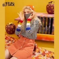 1512.55руб. 40% СКИДКА|ELFSACK, Цветной полосатый Повседневный вязаный пуловер, свитера для женщин, зима 2019, радужные Лоскутные рукава, офисные женские базовые Топы on AliExpress - 11.11_Double 11_Singles