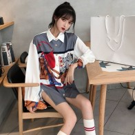 1075.68 руб. 30% СКИДКА|Harajuku корейский Ретро для женщин блузка с длинными рукавами и принтом свободные отложной воротник футболки весенние женские рубашк купить на AliExpress