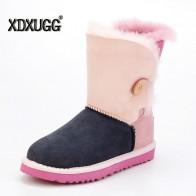 Модные женские туфли из овечьей шерсти зимние сапоги Высокое качество Женская зимняя обувь на плоской подошве с пряжкой Теплые зимние сапоги бесплатная доставкакупить в магазине XDXUGG StoreнаAliExpress