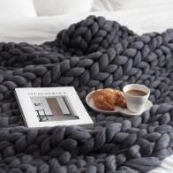 Одеяло крупной ручной вязки, толстая пряжа, шерстяные одеяла, мягкие теплые декоративные коврики для кровати, домашний текстиль, вязаные ше... - Дома тепло