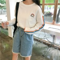 518.08 руб. 39% СКИДКА|Korea sweatershirt for Women 2018 Summer New college kawaii rainbow embroidery striped sleeve loose long sleeved Harajuku Top-in Толстовки и кофты from Женская одежда on Aliexpress.com | Alibaba Group