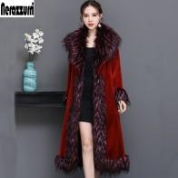 US $118.25 45% OFF|Nerazzurri Luxury runway coat women 2019 winter red furry faux fur coat women with fox fur collar plus size overcoat 5xl 6xl-in Faux Fur from Women