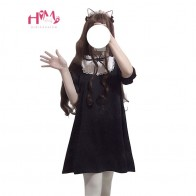 1241.77 руб. 24% СКИДКА|2019 японский Симпатичные Модные Платье черного цвета Для женщин в Корейском стиле; милые леггинсы с кружевными бантиками готика, Харадзюку Стиль со стоячим воротником, Длинная зимняя куртка для девочек в стиле