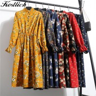 US $21.59 |Kostlich 2018 Vintage Floral Print Autumn Winter Women Casual Dress Elastic Waist Stand Collar Long Sleeve Corduroy Dress-in Dresses from Women