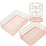 € 5.96 37% de DESCUENTO|Cesta de almacenamiento de cobre organizador de cosméticos oro rosa brochas de maquillaje soporte de alambre metálico artículos de tocador cestas de baño estantes en Cestas de almacenamiento de Hogar y Jardín en AliExpress.com | Alibaba Group