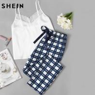 1247.15 руб. 45% СКИДКА|SHEIN женский пижамный комплект, одежда для сна на бретельках белого цвета, без рукавов, с кружевной отделкой, Cami, клетчатые штаны, пижамный комплект-in Комплекты пижам from Нижнее белье и пижамы on Aliexpress.com | Alibaba Group