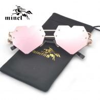 458.74 руб. 31% СКИДКА|MINCL/солнцезащитные очки в форме сердца, модные женские и мужские металлические солнцезащитные очки без оправы купить на AliExpress