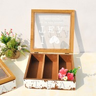 Wooden Tea Coffee Storage Box Sealed For Tea Leaves Container Transparent Glass Storage Organizer Desktop Storage Accessories