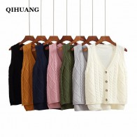 US $12.85 | QIHUANG Women Cardigan Short Design Outwear Loose Knitted Sleeveless Sweater Vest 2018 Autumn Winter Female Warn Knitwear Vest -in Vests from Women