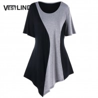 US $10.99 30% OFF|VESTLINDA Women T Shirt Plus Size 5XL Asymmetric Two Tone T Shirt Summer Casual Scoop Neck Short Sleeves Long T Shirts Tops-in T-Shirts from Women