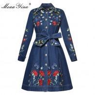 4225.08 руб. 15% СКИДКА|MoaaYina Высококачественная модная дизайнерская подиумная ковбойская ветровка с длинными рукавами и вышивкой, с поясом, Повседневная винтажная ковбойская куртка-in Тренч from Женская одежда on Aliexpress.com | Alibaba Group