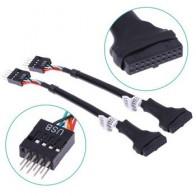 1 шт. USB 3,0 20-Pin Материнская плата заголовок женский к USB 2,0 9-контактный Мужской адаптер кабель - Электроника