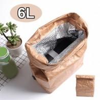 6L крафт-бумажные мешки для ланча для женщин и мужчин, экологичные водонепроницаемые Изолированные сумки-Кулеры, термоалюминиевые складные ... - time for lunch