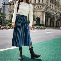 US $14.39 40% OFF|Yanueun Autumn Winter Velvet Pleated Skirts Elegant Skirt Casual High Elastic Waist Mid Calf Skirt Stylish For Ladies-in Skirts from Women