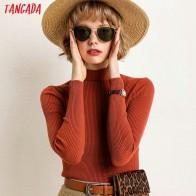 Tangada fashion women solid sweater half turtleneck big stretch long sleeve slim white black red soft sweater ladies pull AQJ08