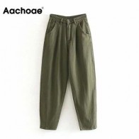 Aachoae женские уличные плиссированные джинсы с высокой талией, свободные громоздкие джинсы с карманами, брюки бойфренда, повседневные женски...