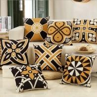Геометрический чехол для подушки желтый черный полосатый декоративные подушки Скандинавское украшение наволочки для дома геометрический Рождественский чехол для подушки купить на AliExpress