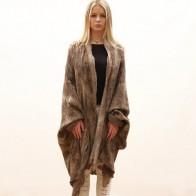 Unique blanket coat for women, Felted wool coat, jacket, Nuno felt wrap for women in light beige and brown.
