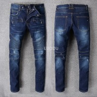 4689.39 руб. |Новый французский стиль #8810 # мужские Украшенные ребристые стрейч мото брюки промасленные окрашенные байкерские джинсы тонкие синие брюки размер 29 42 купить на AliExpress