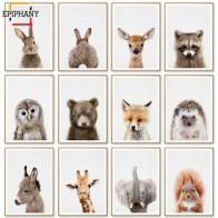 Детские постеры с животными и принтами Rabbit Жираф картина слона на холсте детская настенная живопись Скандинавское украшение для детской ко...