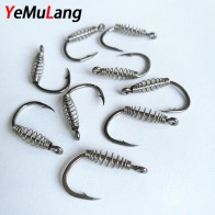 US $1.01 49% OFF|10pcs/lot High Carbon Steel Spring Hook Barbed Swivel Carp Jig Fly Fishing Hooks With Hole For Fishing Tackle Accessories-in Fishhooks from Sports & Entertainment on Aliexpress.com | Alibaba Group