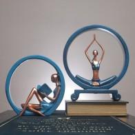 Креативный скандинавский домашний Декор статуя девушки йоги Статуэтка украшение дома аксессуары украшение стола скульптура из смолы совр... - home decore