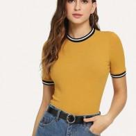Camiseta ringer de rayas tejida de canalé