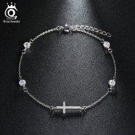 US $5.19 40% OFF|ORSA JEWELS Bracelet&Bangle For Women 2019 New Fashion Shiny CZ Female Cross Design Silver Color Wedding Party Jewelry OB43-in Chain & Link Bracelets from Jewelry & Accessories on Aliexpress.com | Alibaba Group
