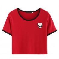"""Женская летняя футболка с рисунком """"Голова инопланетянина""""  купить в интернет-магазине Pandao.ru по цене 385 руб."""