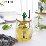 US $5.94 15% OFF|OUSSIRRO Children Cartoon Milk Mugs With Spoon & Cover Creativity Glass Mug Student Drinking Cup Cactus Thermos-in Mugs from Home & Garden on Aliexpress.com | Alibaba Group