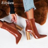 Женские ботинки из искусственной кожи Eilyken, зимние ботинки с острым носком на высоком каблуке, коричневые мотоциклетные ботинки на молнии, р... - Женская обувь