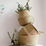 Ротанговая складная корзина, плетеные корзины с водорослями, грязная прачечная, домашнее хранилище корзина для хранения, простой органайзе... - Корзины для белья