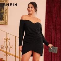 Женское Короткое платье SHEIN, черные вечерние платья с открытыми плечами, запахом и рюшами, осеннее платье большого размера плюс - Плюс-сайз платья