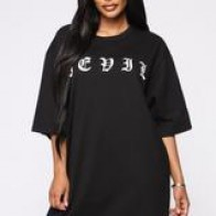 Devilish Behavior T-Shirt Dress - Black