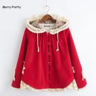 1831.54 руб. 10% СКИДКА|Merry довольно новые зимние для женщин куртка Mori Girl цветок кружево лоскутное с длинным рукавом капюшоном шерсть плюс бархат теплая верхняя одежда пальт купить на AliExpress