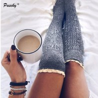 244.65 руб. 11% СКИДКА|Модные женские гольфы, кружевные носки, женские гольфы, высокие толстые милые вязаные длинные чулки для девочек-in Чулки from Нижнее белье и пижамы on Aliexpress.com | Alibaba Group