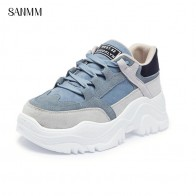 US $35.92 39% OFF|SANMM Women Thick Sole Flat Platform Casual Shoes Autumn Lace Up New Walking Shoes Woman Sneakers Mixed Colors AZ80-in Women