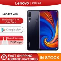 Lenovo Z5s Snapdragon 710 Octa Core 6GB 128GB SmartPhone Face ID 6.3 AI Triple arrière caméra Android P téléphone portable