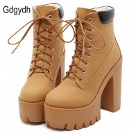 US $28.88 15% OFF|Gdgydh Fashion Spring Autumn Platform Ankle Boots Women Lace Up Thick Heel Platform Boots Ladies Worker Boots Black Big Size 42-in Ankle Boots from Shoes on Aliexpress.com | Alibaba Group