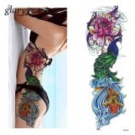 103.32 руб. 20% СКИДКА|1 шт. стикер татуировки Полный цветок рука рыба Павлин Лотос шаблон временный макияж тело искусство переводная татуировка наклейка DZ 112 купить на AliExpress
