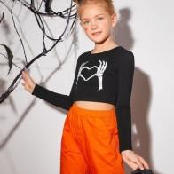 Кроп топ с принтом для девочек - Хэллоуин для детей