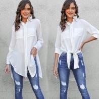 2018 Для женщин нагрудные с длинным рукавом кнопки вниз рубашка Дамы Повседневное одноцветное Цвет Roll up рукавом карманы с боковыми длинная блузка к купить на AliExpress