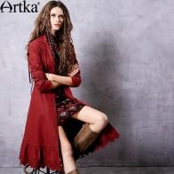 4198.92 руб. 50% СКИДКА|ARTKA Женская Осенняя коллекция 2018 года, бордовая вышивка, шнуровка, Тренч, винтажный отложной воротник, длинный рукав, оборки, подол, пальто FA11563Q-in Тренчи from Женская одежда on Aliexpress.com | Alibaba Group