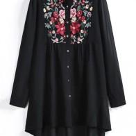 Прозрачная шифоновая длинная блуза размера плюс с вышивкой