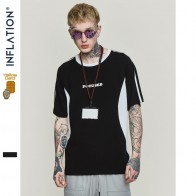 US $14.41 50% OFF|INFLATION Men T shirts Summer Colour Block Cotton Hip Hop Streetwear Top Tee Brand Clothing Short Sleeve T shirt 91191S-in T-Shirts from Men