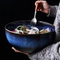 Супер большая салатная миска 2400 мл, керамическая синяя фарфоровая сбрасывающая миска, оптовая продажа, посуда, глубокая миска, глубокая син... - Посуда